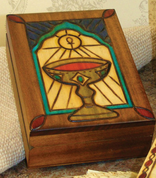 """Chalice Design - Handmade Wood Keepsake Box from Poland, measures 5"""" x 3.75. Beautifully etched in colored wood. Interior of box is lined with balsa wood.  Also available is a Cross Box - 2.75 x 2.75"""" (Item 37851), or Bible Box - 5"""" x 3.75"""" (Item 37858)."""