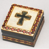 "Preserve special mementos in the handsome cross design keepsake wood box from Poland! Handmade in Poland, the square cross design keepsake wood box measures 2.75 inches across and features a beautifully etched and dark colored cross in the center of the cover. This beautiful cross design keepsake wood box from Poland is made of seasoned linden wood, from the Tatra Mountain region of Poland. Beautifully etched in colored wood. Interior of box is lined with balsa wood. Also available is a Chalice Design Box (37856)  5"" x 3.75, and a ""Bible"" Box (37858) 5"" x 3.75'."