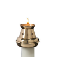 Bove Style Brass Candle Followers. Essential to proper burning, each brass candle follower effectively reduces drips and prolongs burn time. Glass shields are  available for processionals and high draft conditions. Brass Followers come in several sizes. Choose your size in the options box.