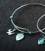Confirmation Bangle of Faith with Holy Spirit Dove Charm and Engraveable Heart Charm