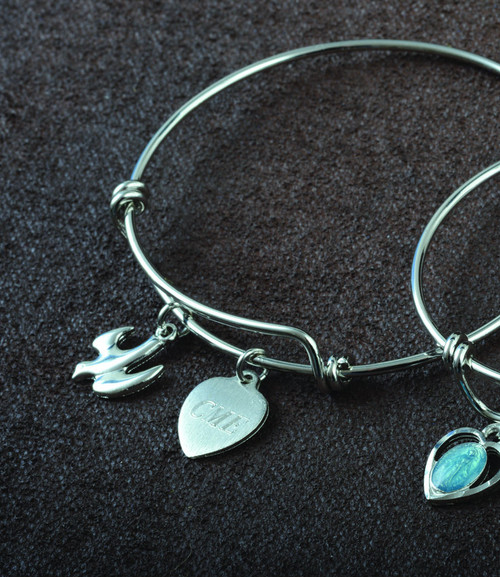 Confirmation Bangle of Faith with Holy Spirit Dove Charm and Engraveable Heart Charm.  Three Initials only for engraving!