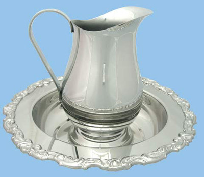 """Bright pewter finish ewer is 8-1/2"""" Height and has a 4"""" Base diameter. 38oz Capacity."""