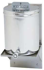 "Holy Water Tank. 2 gallon capacity 10-1/2""Height. 8"" Diameter. Available with either ""Holy Water"" or ""Baptismal Water"" plaque, please specify. Made entirely of stainless steel with or without stainless steel wall shelf. Shelf measures 16"" Height x 9-1/8"" Diameter"
