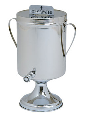"""Holy or Baptismal Water Urn Shown with Handles - 449(H)-2 gallon capacity. Stainless steel container. 15"""" Height ~ 7"""" Base. Available with either """"Holy Water"""" or """"Baptismal Water"""" sign.  Comes with or without handles-please specify"""
