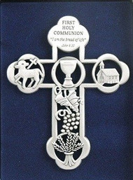 "5"" ""Scripture Message Cross"" First Holy Communion ""I am the Bread of Life"" John 6:25"