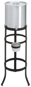 "Holy Water Tank and Stand. 5 or 6 gallon capacity. Stands 41"" Height. Stand is antique black. 16"" leg spread"