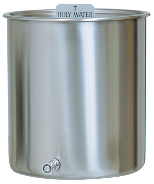 """Holy Water Tank K447- Stainless Steel with cover. Holy Water sign and spigot included. 5 gallon capacity, 12 1/2"""" diameter, 11"""" height        6 gallon capacity, 12 1/2"""" diameter, 13"""" height       10 gallon capacity, 14"""" diameter, 16"""" height      15 gallon capacity, 16"""" diameter, 18"""" height      15 gallon capacity,  16"""" diameter, 18"""" height (with handles)"""
