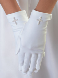 Matte Satin White Gloves with Pearl Cross. Gloves come in sizes 4-7 or 8-14. Please make selection when checking out.