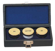 "Baptismal Set. Oil Containers 1-1/2""D. OS, SC and Cotton. Case 6"" x 3"" x 2-1/4""D. Stainless Steel or 24K Gold plate"