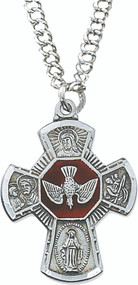 "1 -1/4"" x 7/8"" Antique Pewter 4-Way Cross on a 24"" rhodium plated chain. Center of cross is red enamel with the Holy Spirit. Perfect for a Confirmation gift!"