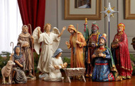 "11 Piece Deluxe 14"" High Nativity Set.The largest piece in the set is Balthazar, which stands 14"" tall. Star measures 15.5"". Beautiful figures with intricate detail and dramatic, life - like faces that capture the Christmas story. Includes the Holy Family, the Three Kings, an Angel, a Shepherd holding a Sheep and another Sheep"