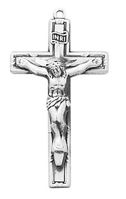 "Sterling Silver 1""L Crucifix comes on a 18"" rhodium chain. Gift box included"