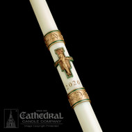 The St Francis Paschal candle from the The Sculptwax Collection is 51% Beeswax ~ Made in the USA. Hand decorated artistry.  Rich, hand cast color infused wax appliques. Time tested applique process.  Cross of St. Francis Complementing Altar Candles are also available