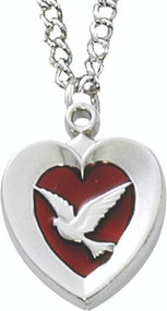 "Rhodium Heart Holy Spirit Dove with red insert on an 18"" stainless chain pendant."