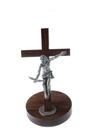 "Standing 11"" Pewter Gift of the Spirit Crucifix with Christ releasing the Dove"