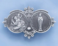"""Cast pewter medal with  Our Lady Of The Highway, and St. Christopher Protect Us"""" inisde two circles Standard clip size: 3""""L x 1 3/4""""H"""