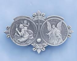 "Cast pewter car medal with ""Guardian Angel and St. Christopher Protect Us"" inside two circles. Standard clip size: 3""L x 1 3/4""H"
