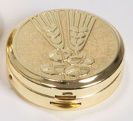 "Two-tone bright and satin finish. Wheat and bread design on lid. 1-1/2"" x 1/2"". Host Capacity-10 (Based on 1-1/8 host capacity). Use with Burse 3110 sold separately."