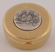 "Hospital Pyx is 24k gold plated with oxidized silver medallion. Pyx has a hinged cover. Pyx measures 3"" in diameter. Host Capacity-60 (Based on 1 1/8"" host). Use with Burse K3085, sold separately."