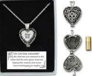 "This memorial locket urn is a great and meaningful bereavement gift. The locket is engraved with the words ""Always in my Heart"" and contains a small brass urn that can help the ashes of your loved one. The heart is about 1 1/2"" in size and the chain is 24""."