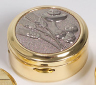 "Pyx - K3292- Two-tone bright and satin finish. Gold plated with silver plated wheat and bread design on lid. 1-3/4"" x 3/4"". Host Capacity-12 (Based on 1 1/8"" host). Use with burse K3125, sold separately."
