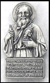 "Angels and guardians protect us on our journeys. St Jude Protect Us Auto Visor Clip. Has the words-""the owner of this car is a Roman Catholic. In case of accident please summon a priest."" Pewter 2.25"""