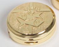 """Two-tone bright and satin finish. Pyx has a bread, fish, and cross design on lid. Pyx measures 1-3/4"""" x 1/2"""". Host Capacity-10 (Based on 1 1/8"""" host capacity).  Use with Burse 3110 sold separately."""
