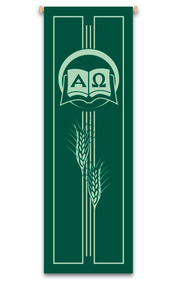 Green ordinary time church banner with wheat with alpha and omega design - St. Jude Shop