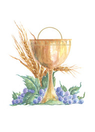 "Chalice Thank You Card 3 1/2"" x 4 7/8"". 50 per box (Gold Ink). Inside Verse: Thank you for your thoughtfulness. May the Lord reward your kindness."