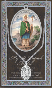 "Patron Saint of Ireland, snakebites and Toothaches. A 1.125"" Genuine Pewter Saint Medal with Stainless Steel Chain. Silver Embossed Pamphlet with Patron Saint Information and Prayer Included. Biography/History of Saint and gives the Patron's attributes, Feast Day and Appropriate Prayer. (3.25""x 5.5"")"