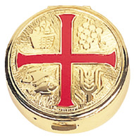 "Red Enamel Cross on Pyx. 2-1/4"" diameter, 25 host capacity (Host capacity based on 1-1/8"" size host). Use with burse K-3125, sold separately."