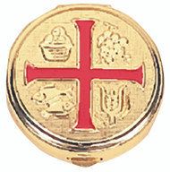 "Red enamel cross on pyx. 1-3/4"" diameter. 10 host capacity. Host capacity based on 1-1/8 host. Genuine leather burse K3110 can be purchased separately"