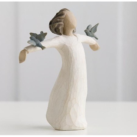 "Happiness....Free to sing, laugh, dance create. Figurine is 5.5"" tall.  She exudes a feeling of freedom, hope and strength, as a young girl throws her arms open to receive a group of bluebirds."