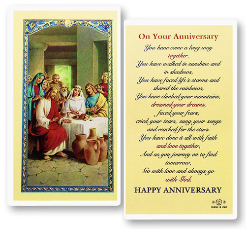 On Your Anniversary Cana Wedding Laminated Holy Card