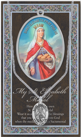 """Patron Saint of Nursing Services, Bakers. A 1.125"""" Genuine Pewter Medal with Stainless Steel Chain. Gold Embossed  Prayer Card included with short biography of the saint included. (3.25""""x 5.5"""")"""