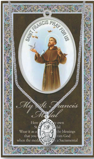 """Patron Saint of Animals, Catholic Action, Merchants. 3"""" X 5"""" vinyl folder with removable oxidized medal Saint Francis 1.125"""" Genuine Pewter Saint Medal with Stainless Steel Chain. Silver Embossed Pamphlet with Patron Saint Information and Prayer Included. Biography/History of Saint Francis and gives the Patron's attributes, Feast Day and Appropriate Prayer. (3.25""""x 5.5"""")"""