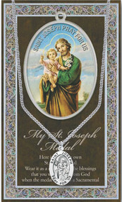 """Patron Saint of Families, Married Couples, the Universal Church,Carpenters and Workers. 3"""" X 5"""" vinyl folder with removable oxidized medal Saint Joseph 1.125"""" Genuine Pewter Saint Medal with Stainless Steel Chain. Silver Embossed Pamphlet with Patron Saint Information and Prayer Included. Biography/History of Saint Joseph and gives the Patron's attributes, Feast Day and Appropriate Prayer. (3.25""""x 5.5"""")"""