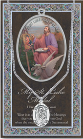 "Patron Saint of Artists, Painters, Nursing Homes. 3"" X 5"" vinyl folder with removable oxidized medal Saint Luke 1.125"" Genuine Pewter Saint Medal with Stainless Steel Chain. Silver Embossed Pamphlet with Patron Saint Information and Prayer Included. Biography/History of Saint Luke and gives the Patron's attributes, Feast Day and Appropriate Prayer. (3.25""x 5.5"")"