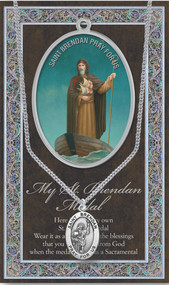 "Patron Saint of Mariners, Sailors, Seafarers comes in a 3"" X 5"" folder with removable oxidized medal.  1.125"" Genuine Pewter Saint Medal won a Stainless Steel Chain. Silver Embossed Pamphlet with Patron Saint Information and Prayer Included. Biography/History of the Saint and gives the Patron's attributes, Feast Day and Appropriate Prayer. (3.25""x 5.5"")"