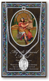 "Patron Saint  of Wales, 3"" X 5"" vinyl folder with removable oxidized medal.  1.125"" Genuine Pewter Saint Medal on a Stainless Steel Chain. Silver Embossed Pamphlet with Patron Saint Information and Prayer Included. Biography/History of the Saint and gives the Patron's attributes, Feast Day and Appropriate Prayer. (3.25""x 5.5"")"