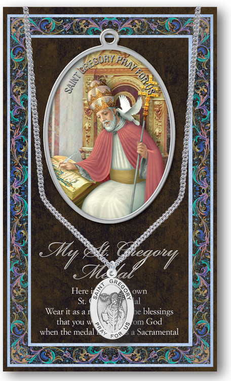 St Gregory The Great Prayer Card And Pewter Medal St