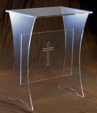 "Acrylic or Wooden Top Offertory table with or without cross. Dimensions: 30"" height by 24"" width, 16"" depth. Base: 3/8"" acrylic. Comes with a choice of 1/2"" Acrylic Top or 3/4"" Wood Top."