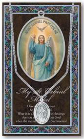 "Patron Saint of Broadcasters, Messengers, Postal Workers, Telecommunications. 3"" X 5"" vinyl folder with removable oxidized medal.  1.125"" Genuine Pewter Saint Medal on a Stainless Steel Chain. Silver Embossed Pamphlet with Patron Saint Information and Prayer Included. Biography/History of the Saint and gives the Patron's attributes, Feast Day and Appropriate Prayer. (3.25""x 5.5"")"