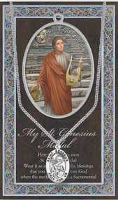 "Patron Saint of Actors, Dancers, Comedians. 3"" X 5"" vinyl folder with removalble oxidized medal.  1.125"" Genuine Pewter Saint Medal won a Stainless Steel Chain. Silver Embossed Pamphlet with Patron Saint Information and Prayer Included. Biography/History of the Saint and gives the Patron's attributes, Feast Day and Appropriate Prayer. (3.25""x 5.5"")"