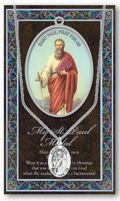 "Patron Saint of Authors, Writers, Press. 3"" X 5"" vinyl folder with removable oxidized medal.  1.125"" Genuine Pewter Saint Medal won a Stainless Steel Chain. Silver Embossed Pamphlet with Patron Saint Information and Prayer Included. Biography/History of the Saint and gives the Patron's attributes, Feast Day and Appropriate Prayer. (3.25""x 5.5"")"