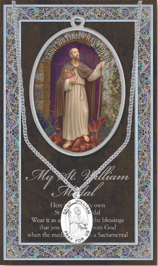 St William The Confessor Prayer Card And Pewter Medal