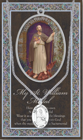 "Patron of Adopted Children.  3"" X 5"" vinyl folder with removalble oxidized medal.  1.125"" Genuine Pewter Saint Medal won a Stainless Steel Chain. Silver Embossed Pamphlet with Patron Saint Information and Prayer Included. Biography/History of the Saint and gives the Patron's attributes, Feast Day and Appropriate Prayer. (3.25""x 5.5"")"