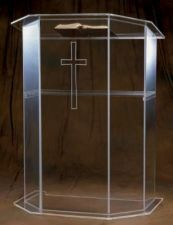 "Acrylic Base Pulpit. Dimensions: 48"" height, 36"" width, 24"" depth. Available with several options: with or without a Cross; 3/4"" wooden top or 1/2"" acrylic top, shelf or no shelf  Personalized logo available for additional cost, please call 1-800-523-7604 for pricing"