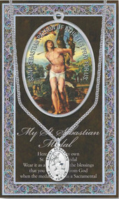 "3"" X 5"" vinyl folder with removable oxidized medal. Patron of Athletes.  1.125"" Genuine Pewter Saint Medal won a Stainless Steel Chain. Silver Embossed Pamphlet with Patron Saint Information and Prayer Included. Biography/History of the Saint and gives the Patron's attributes, Feast Day and Appropriate Prayer. (3.25""x 5.5"")"