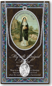 "Patron Saint of Midwives,Newborn Babies. A 1.125"" Genuine Pewter Medal with Stainless Steel Chain. Gold Embossed  Prayer Card included with short biography of the saint included. (3.25""x 5.5"")"